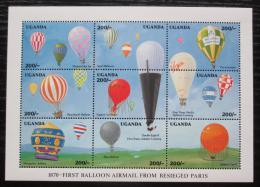 Poštovní známky Uganda 1992 Balónová pošta Mi# 1039-47 Kat 14€