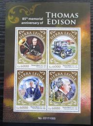 Poštovní známky Sierra Leone 2016 Thomas Alva Edison Mi# 6953-56 Kat 11€