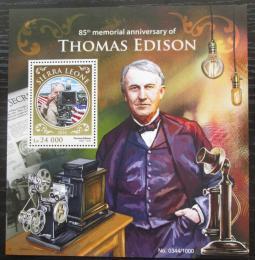 Poštovní známka Sierra Leone 2016 Thomas Alva Edison Mi# Block 923 Kat 11€