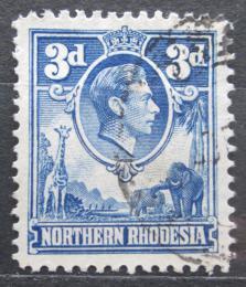 Poštovní známka Severní Rhodésie, Zambie 1938 Král Jiøí VI. a fauna Mi# 34