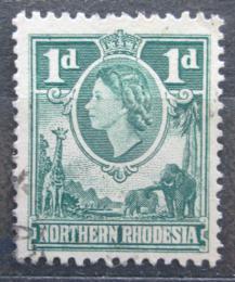 Poštovní známka Severní Rhodésie, Zambie 1953 Královna Alžbìta II. a fauna Mi# 62