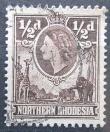 Poštovní známka Severní Rhodésie, Zambie 1953 Královna Alžbìta II. a fauna Mi# 61