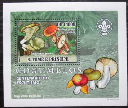 Poštovní známka Svatý Tomáš 2007 Houby, skauting DELUXE Mi# 3007 Block