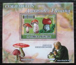 Poštovní známka Svatý Tomáš 2007 Houby, Alexander Fleming DELUXE Mi# 2969 Block
