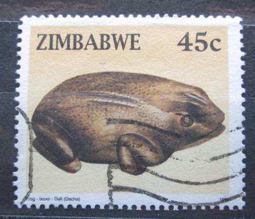 Poštovní známka Zimbabwe 1996 Vyøezávaná žába Mi# 583
