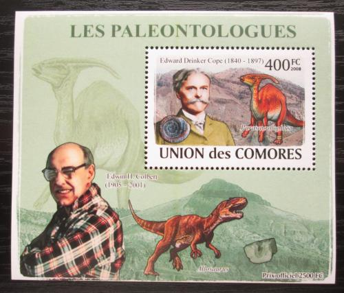 Poštovní známka Komory 2009 Paleontologové a dinosauøi DELUXE Mi# 1964 Block