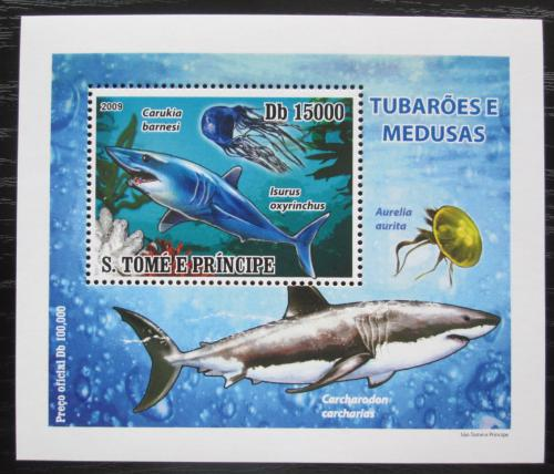 Poštovní známka Svatý Tomáš 2009 Žraloci a medúzy DELUXE Mi# 3856 Block