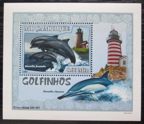 Poštovní známka Mosambik 2007 Delfíni a majáky DELUXE Mi# 3045 Block