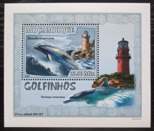 Poštovní známka Mosambik 2007 Delfíni a majáky DELUXE Mi# 3048 Block