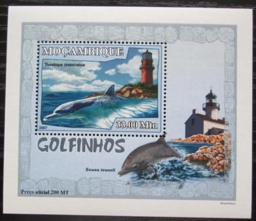 Poštovní známka Mosambik 2007 Delfíni a majáky DELUXE Mi# 3049 Block