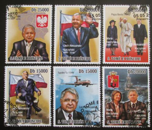 Poštovní známky Svatý Tomáš 2010 Prezident Lech Kaczyòski Mi# 4564-69 Kat 13€
