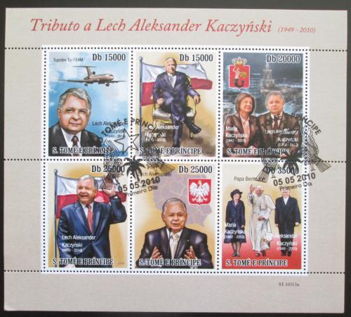 Poštovní známky Svatý Tomáš 2010 Prezident Lech Kaczyòski Mi# 4564-69 Bogen Kat 13€