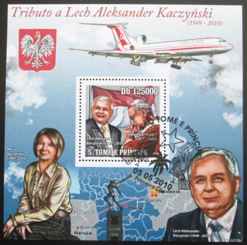 Poštovní známka Svatý Tomáš 2010 Prezident Lech Kaczyòski Mi# Block 783 Kat 12€