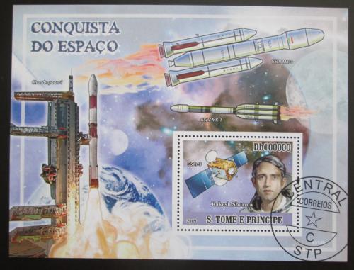 Poštovní známka Svatý Tomáš 2009 Rakesh Sharma, indický kosmonaut Mi# Block 692 Kat 10€