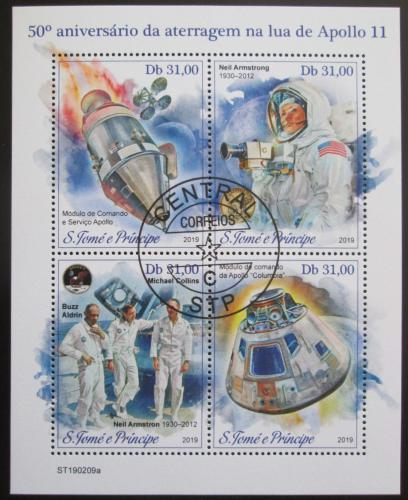 Poštovní známky Svatý Tomáš 2019 Apollo 11, prùzkum Mìsíce Mi# N/N