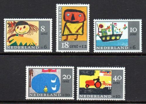 Poštovní známky Nizozemí 1965 Dìtské kresby Mi# 850-54