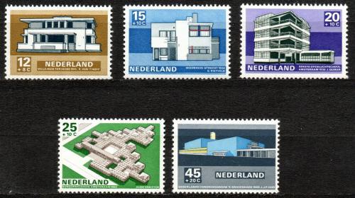 Poštovní známky Nizozemí 1969 Moderní architektura Mi# 915-19