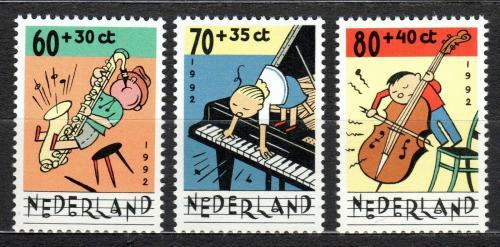 Poštovní známky Nizozemí 1992 Dìti a hudba Mi# 1451-53