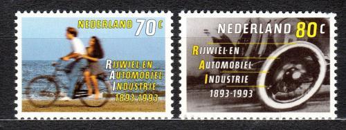 Poštovní známky Nizozemí 1993 Výroba kol a automobilù Mi# 1460-61