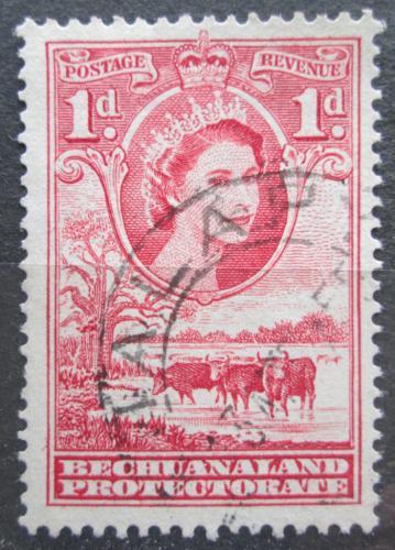 Poštovní známka Beèuánsko, Botswana 1955 Královna Alžbìta II. a stádo skotu Mi# 130