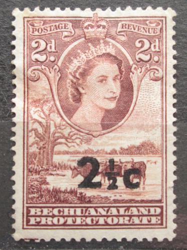 Poštovní známka Beèuánsko, Botswana 1961 Královna Alžbìta II. a stádo skotu pøetisk Mi# 146