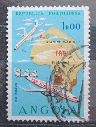 Poštovní známka Angola 1963 Letadla a mapa Afriky Mi# 492