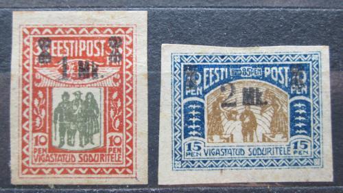 Poštovní známky Estonsko 1920 Váleèní invalidé pøetisk Mi# 25-26