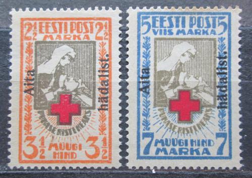 Poštovní známky Estonsko 1923 Èervený køíž pøetisk RARITA Mi# 46-47 A Kat 300€