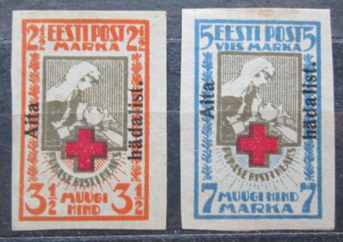 Poštovní známky Estonsko 1923 Èervený køíž pøetisk RARITA Mi# 46-47 B Kat 300€