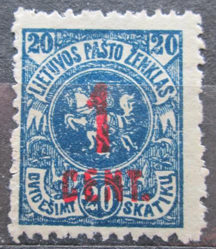 Poštovní známka Litva 1922 Státní znak pøetisk Mi# 140
