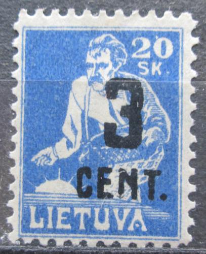 Poštovní známka Litva 1922 Rozsévaè pøetisk Mi# 159