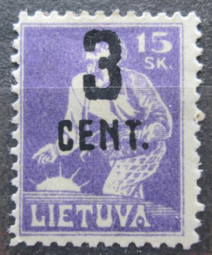 Poštovní známka Litva 1922 Rozsévaè pøetisk Mi# 158