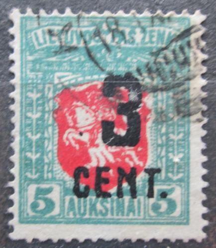 Poštovní známka Litva 1922 Státní znak pøetisk Mi# 156