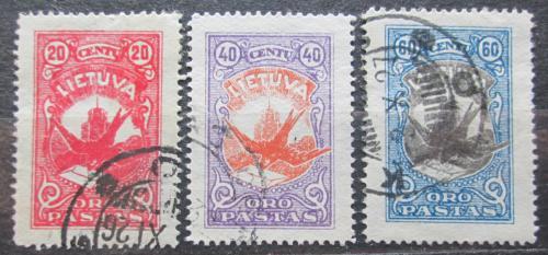 Poštovní známky Litva 1926 Vlaštovka s dopisem Mi# 243-45