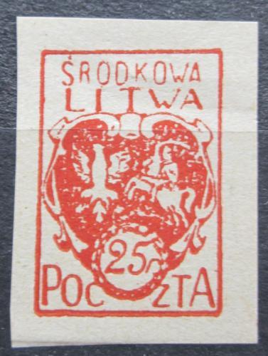 Poštovní známka Støední Litva 1920 Státní znak neperf. Mi# 1 B