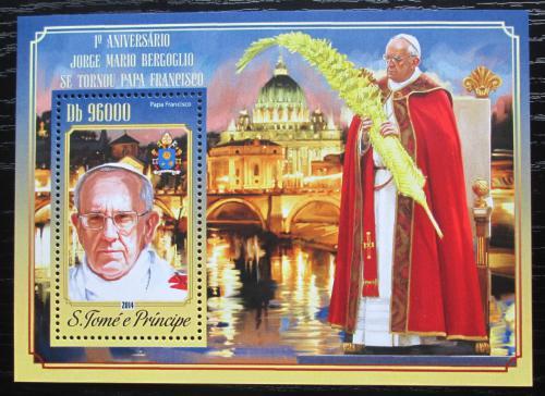 Poštovní známka Svatý Tomáš 2014 Papež František Mi# Block 1047 Kat 10€