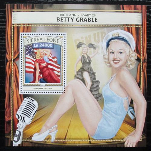 Poštovní známka Sierra Leone 2016 Betty Grable, hereèka Mi# Block 1083 Kat 11€