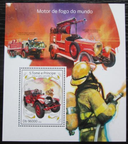 Poštovní známka Svatý Tomáš 2014 Hasièská auta Mi# Block 985 Kat 10€