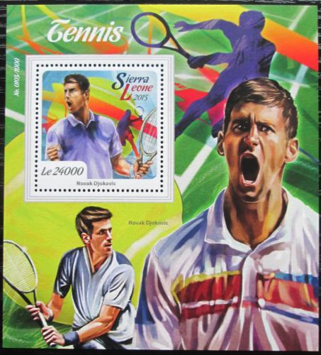 Poštovní známka Sierra Leone 2015 Novak Djokoviè, tenis Mi# Block 876 Kat 11€