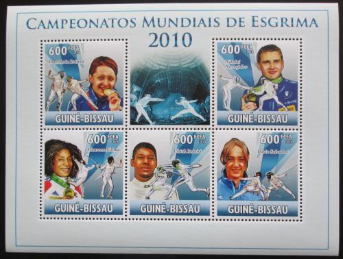 Poštovní známky Guinea-Bissau 2010 MS v šermu Mi# 5134-38 Kat 12€