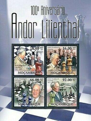 Poštovní známky Mosambik 2011 Andor Lilienthal, šachy Mi# 4509-12 Kat 11€