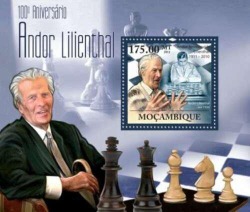 Poštovní známka Mosambik 2011 Andor Lilienthal, šachy Mi# Block 441 Kat 10€