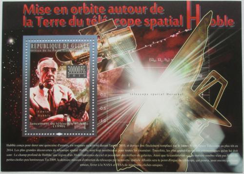 Poštovní známka Guinea 2010 Edwin Hubble, Hubbleùv teleskop Mi# Bl 1840 Kat 10€