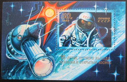 Poštovní známka SSSR 1980 Alexej Leonov, prùzkum vesmíru Mi# Block 145