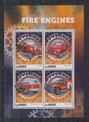 Poštovní známky Sierra Leone 2016 Hasièská auta Mi# 7148-51 Kat 11€