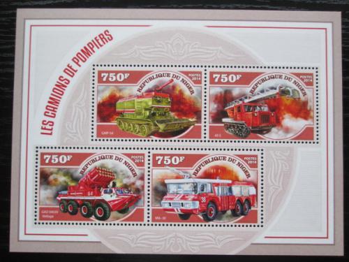 Poštovní známky Niger 2014 Hasièská technika Mi# 3234-37 Kat 12€
