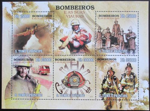 Poštovní známky Svatý Tomáš 2010 Hasièi Mi# 4430-34 Kat 12€