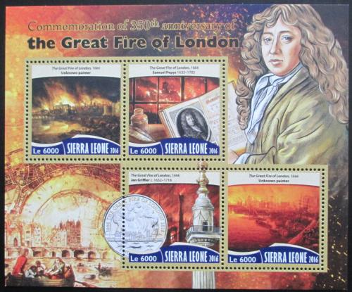 Poštovní známky Sierra Leone 2016 Velký požár Londýna Mi# 7418-21 Kat 11€