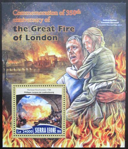 Poštovní známka Sierra Leone 2016 Velký požár Londýna Mi# Block 1016 Kat 11€