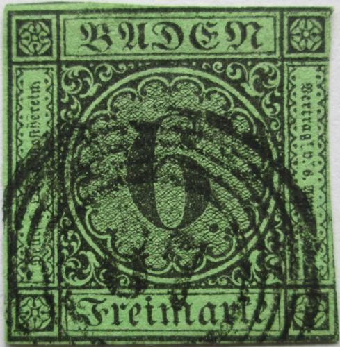 Poštovní známka Bádensko 1852 Nominální hodnota Mi# 3 b Kat 60€